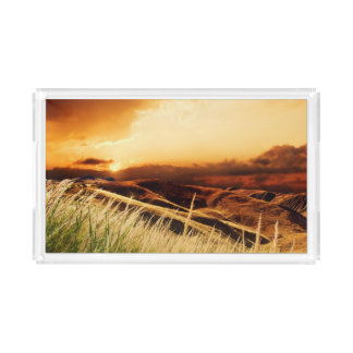 stems of rush at the sunset acrylic tray