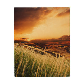 stems of rush at the sunset wood wall decor