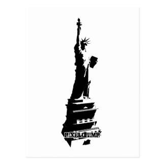 Stencil Liberty Black Postcard