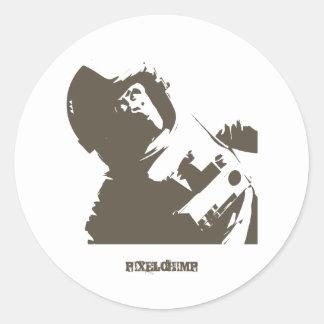 Stencil Space Chimp Classic Round Sticker