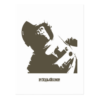Stencil Space Chimp Postcard