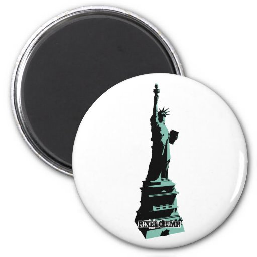 Stencil Statue Liberty Green Refrigerator Magnets