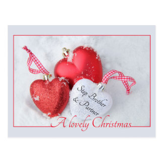 Step Brother and partner Merry Christmas card Postcard