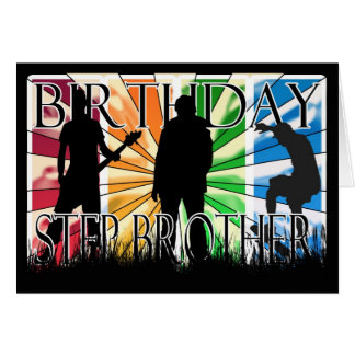 Step Brother Birthday Card Male Modern