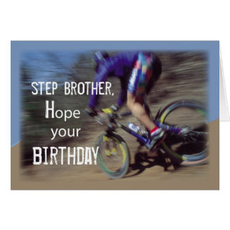 Step Brother Sports Mountain Bike Birthday Greeting Card