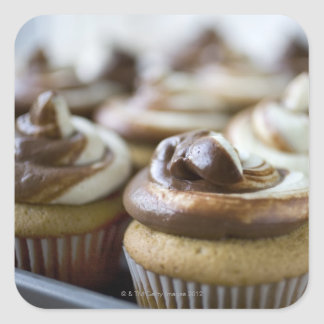 Step by step photos of peanut butter cupcakes square sticker