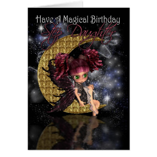Step Daughter Magical Birthday cute little moon fa Greeting Card