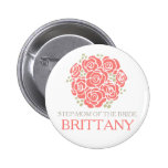 Step-mum of the bride coral posy wedding button