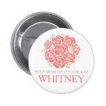 Step-mum of the groom coral posy wedding button