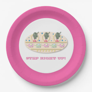 Step Right Up Playful Circus Elephants Paper Plate