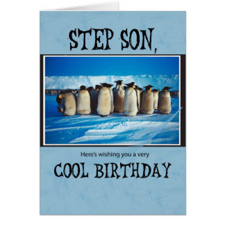 Step Son Birthday, Penguins Card