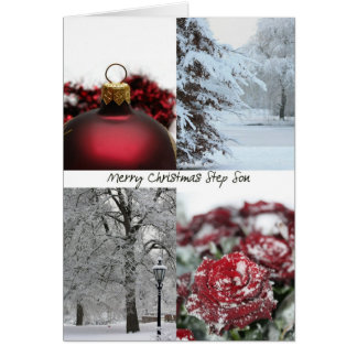 Step Son Christmas Red Winter collage Greeting Card