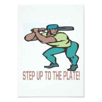 "Step Up To The Plate 5"" X 7"" Invitation Card"