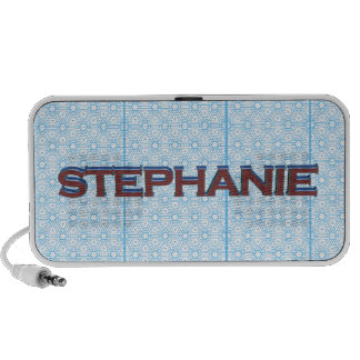 Stephanie 3D text graphic over light blue lace iPod Speaker