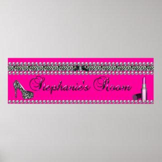 Stephanie Banner Hot Pink Lipstick Zebra Leopard Poster