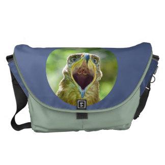 Steppe Eagle Head 0011 01, screaming Messenger Bags