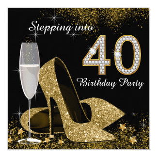 Stepping Into 40 Birthday Party 13 Cm X 13 Cm Square Invitation Card