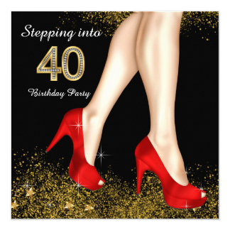 Stepping Into 40 Birthday Party Red Shoes Card