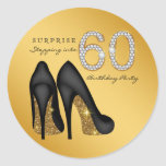 Stepping Into 60 Birthday Party Round Sticker