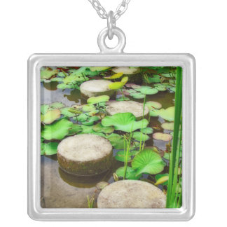 Stepping Stones Square Pendant Necklace