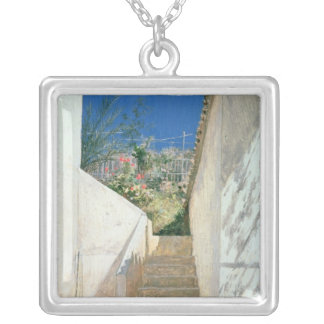 Steps in a Garden, Algeria, 1883 Silver Plated Necklace