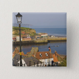 Steps leading down to the harbour, Whitby, North 15 Cm Square Badge
