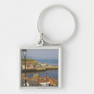 Steps leading down to the harbour, Whitby, North Silver-Colored Square Key Ring