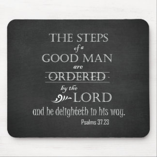 Steps of a Good Man Bible Verse Typography Mouse Mat