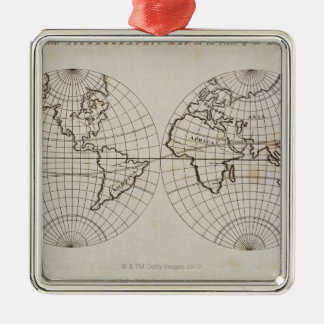 Stereographic Map Silver-Colored Square Decoration
