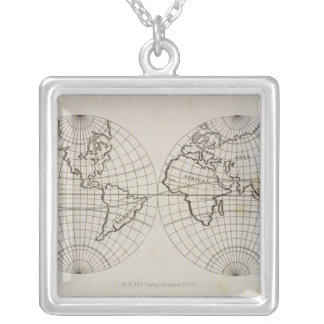 Stereographic Map Silver Plated Necklace