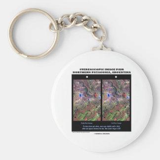 Stereoscopic Image Pair Nrthn Patagonia Argentina Basic Round Button Key Ring
