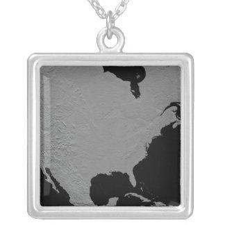 Stereoscopic view of North America 2 Square Pendant Necklace