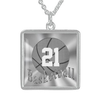Sterling Silver Basketball Necklace with Number