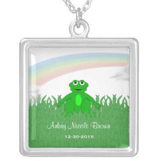 Sterling Silver Frog Birth Necklace