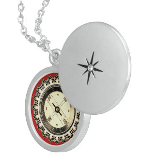 Sterling silver Locket Faux Compass