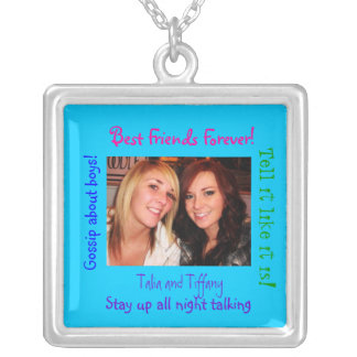 Sterling Silver necklac Best Friends Forever!, Square Pendant Necklace