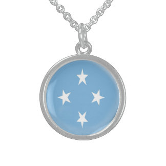 Sterling Silver Necklace + chain Micronesia flag