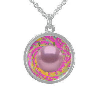 "Sterling Silver Necklace Pink ""Pearl Swirl"""
