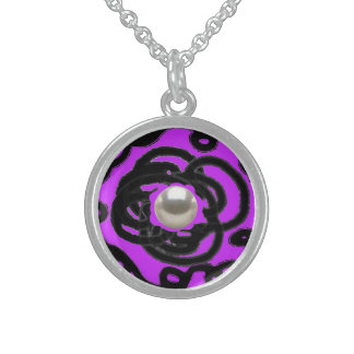"Sterling Silver Necklace Round purpl ""Pearl Swirl"""