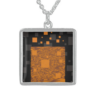 Sterling silver pendant and chain orange squares