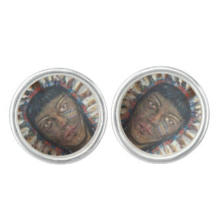 Sterling Silver Plated Cuff Links First Nations