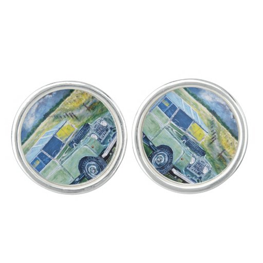 Sterling Silver Plated Cuff Links with Land Rover