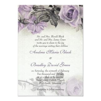 "Sterling Silver Purple Rose Wedding Invitation 5"" X 7"" Invitation Card"
