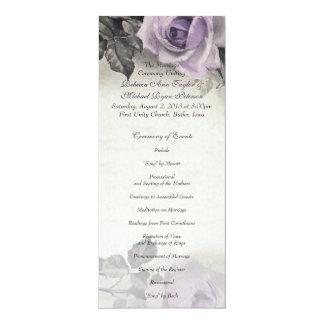 Sterling Silver Purple Rose Wedding Program 10 Cm X 24 Cm Invitation Card