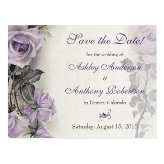 Sterling Silver Purple Rose Wedding Save the Date Postcard