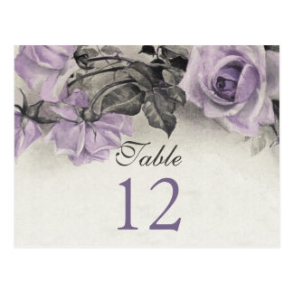 Sterling Silver Purple Rose Wedding Table Cards Postcard