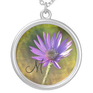 Sterling Silver Wildflower Initial Necklace