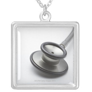 Stethoscope 3 silver plated necklace