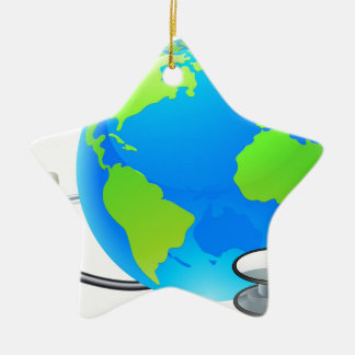 Stethoscope Earth World Globe Health Concept Christmas Ornament