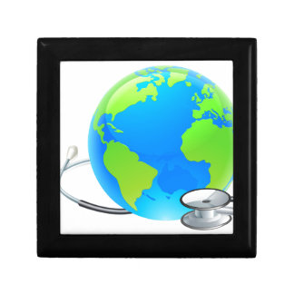 Stethoscope Earth World Globe Health Concept Gift Box